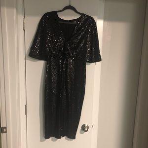 ASOS Sequin Dress w/cape shoulder (midi)